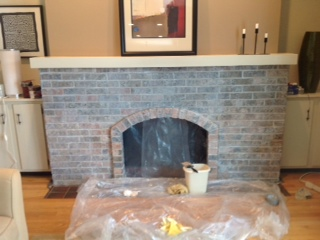 white washed fireplace